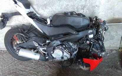 Estado en que quedó la motocicleta de la víctima