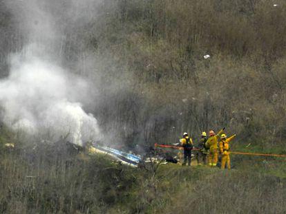 Los restos del helicóptero en el que murieron Kobe Bryant y otras ocho personas, el pasado 26 de enero en Calabasas, California.