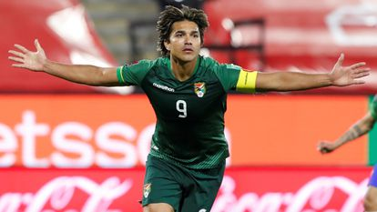 The Bolivian player Marcelo Martins of Bolivia after scoring a goal against Chile in the World Cup qualifiers.
