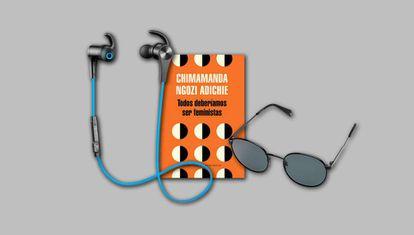 Los auriculares inalámbricos SoundPEATS (a la izquierda de la imagen), el libro 'Todos deberíamos ser feministas' (en el centro) y una gafas de sol para hombre Polaroid 2053 (a la derecha), son tres de los doce productos más demandados de este año.