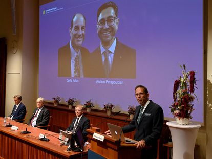 Thomas Perlmann, secretario de los Nobel (en el atril), anuncia los premiados en Medicina, en la pantalla: David Julius (izquierda) y Ardem Patapoutian.