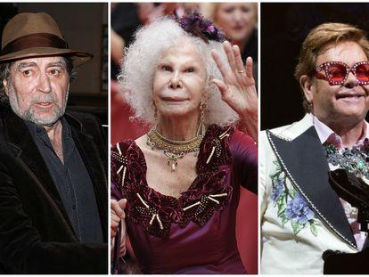 Joaquín Sabina, la duquesa de Alba y Elton John.