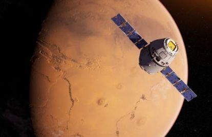 La sonda 'Tianwen-1', recreada en su aproximación a Marte.