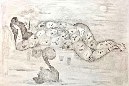 'Claroscuro latinoamericano' (2020), dibujo de Claudia del Río que se exhibirá en el Malba de Buenos Aires.