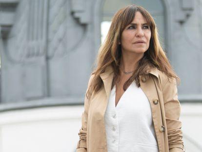 La actriz Melani Olivares, a mediados de junio de 2021 en una terraza de la Gran Vía de Madrid.