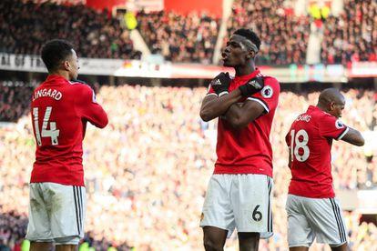 Jesse Lingard del Manchester United celebra con Paul Pogba el gol de la victoria contra el Chelsea el pasado 25 de febrero.