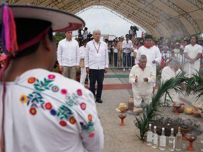 Andrés Manuel López Obrador, durante la inauguración del Tren Maya, en diciembre de 2018 en Palenque.