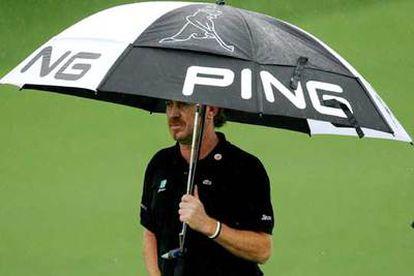 Jiménez, ayer bajo la lluvia.