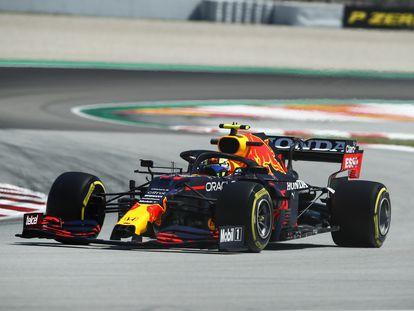 El coche de Checo Pérez, durante el Gran Premio de España.