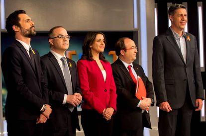 Los candidatos a la Generalitat de Cataluña antes del debate del jueves.