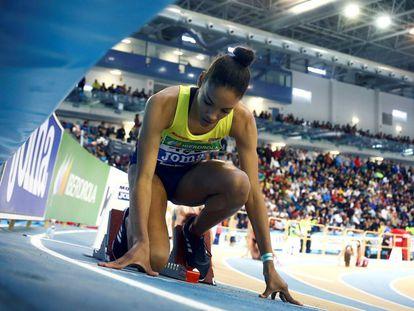 Salma Paralluelo, en el Campeonato de España Absoluto de atletismo en pista cubierta que se disputa en Antequera (Málaga).
