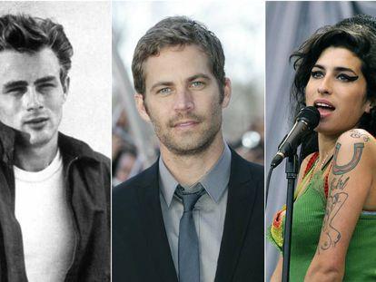James Dean, Paul Walker y Amy Winehouse.