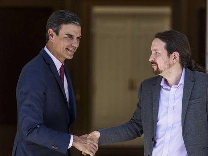 Pedro Sánchez y Pablo Iglesias, a primeros de mayo en Moncloa.