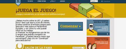 Juego ofrecido en la página web dedicada a las Elecciones 2014 por el Parlamento Europeo.