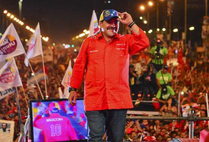Maradona, en el acto de cierre de campaña de Maduro.
