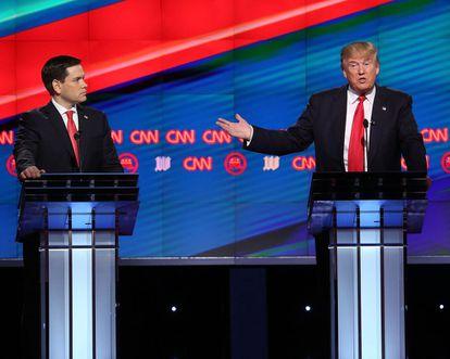 Marco Rubio y Donald Trump durante el debate.