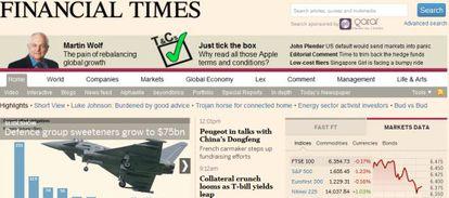Captura de pantalla de la web del 'Financial Times'.