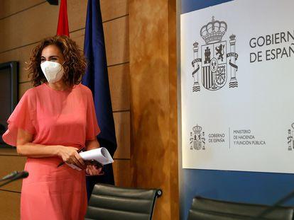 La ministra de Hacienda y Función Pública, María Jesús Montero, este lunes.