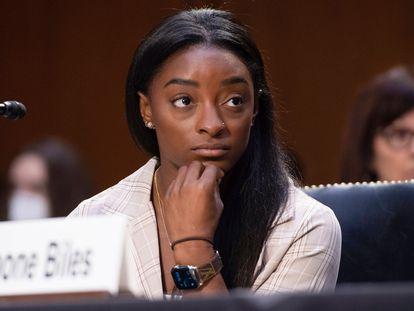 Simone Biles, en la sesión del Senado estadounidense sobre la actuación del FBI en el caso de Larry Nassar.
