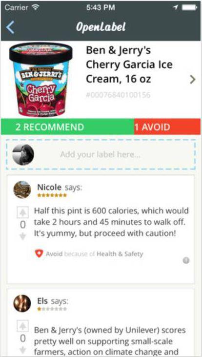 Con Open Label basta con escanear el código de barras para obtener información sobre la sostenibilidad del producto y comentarios de usuarios.