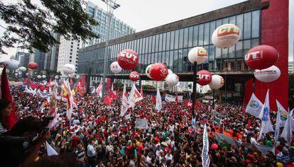 Manifestación en São Paulo, el pasado marzo, contra el Gobierno de Michel Temer.