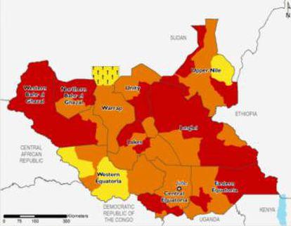 Previsión de la situación alimentaria en Sudán del Sur entre febrero y mayo. En amarillo (nivel 2), problemas alimentarios acentuados; en naranja (nivel 3), crisis alimentaria; en rojo (nivel 4, el anterior a la hambruna), emergencia alimentaria.