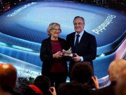 Florentino Pérez y Manuela Carmena presentan el comienzo de un proyecto de 525 millones de euros cuyas obras empezarán al final de temporada y durarán unos cuatro años