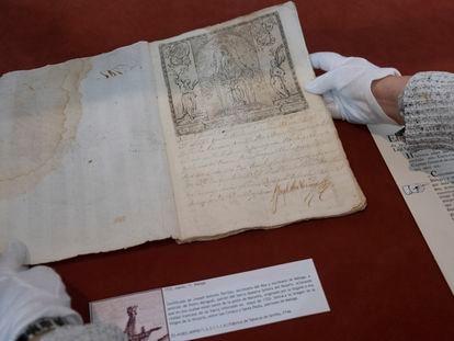 Certificado expedido en Málaga el 11 de marzo de 1722 al patrón de barco Pedro Mengual, que zarpaba rumbo a Ceuta, en el que se da fe de que la ciudad está libre de la peste de Marsella, en el Archivo Histórico Provincial de Sevilla.