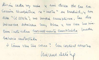 Otro fragmento de la misma misiva de Delibes de 1961.