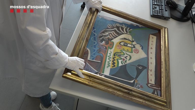 La pintura falsificada 'Le Peintre' de Pablo Picasso que los Mossos d'Esquadra han localizado.