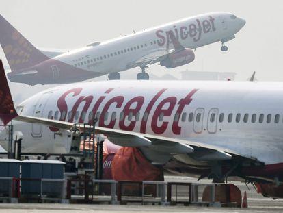 Imagen de archivo de 2019 de un avión de la compañía SpiceJet en el aeropuerto de Calcuta (India).