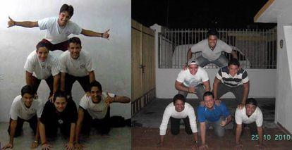 Toro y sus amigos del colegio en 2006 (izquierda) y 2010. Dos están en España, uno en Perú, uno en Costa Rica y dos siguen en Venezuela.