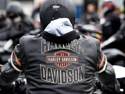 Motero de Harley-Davidson en Hambugo, Alemania
