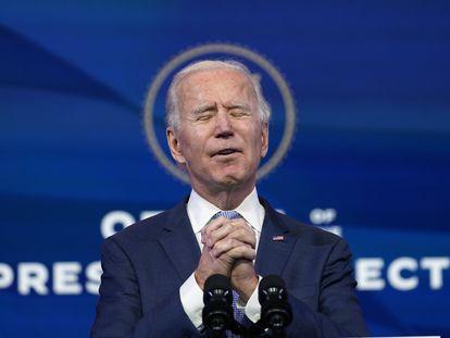 Joe Biden, durante una conferencia de prensa este miércoles en Wilmington, Delaware.