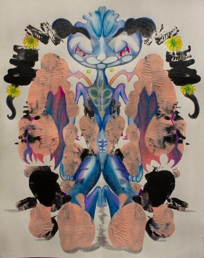 Obra sin título de Tobías Dirty, 2020, inspirada en las manchas del test de Rorschach.