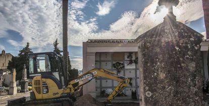 Trabajos de exhumación de más de 100 personas en el cementerio de Porreres.