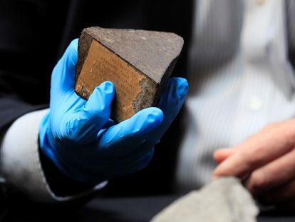 El director del Museo Nacional de Ciencias Naturales, Rafael Zardoya, muestra el meteorito de Reliegos recuperado este miércoles