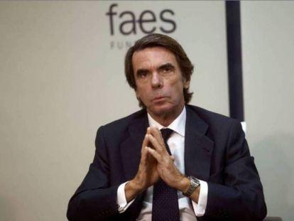El expresidente del Gobierno José María Aznar, el pasado noviembre en un desayuno informativo.