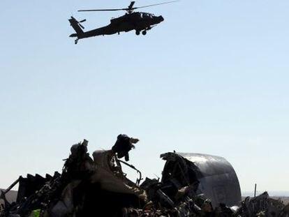 Un helicóptero del Ejército egipcio en El Sinaí, el 1 de noviembre de 2015.