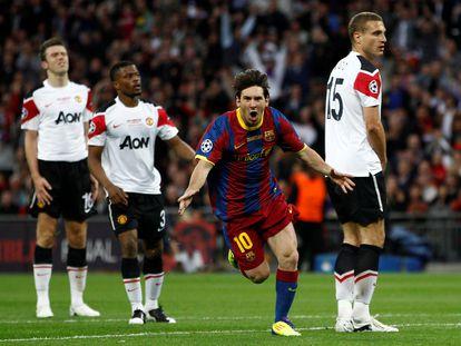 Messi celebra su gol en la final de la Champions de 2011 ante el Manchester United en Wembley.