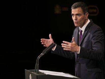 Pedro Sánchez, en un acto en la Casa de América de Madrid este lunes.