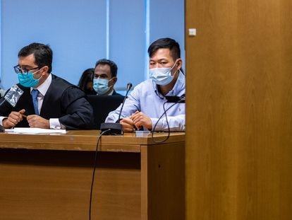 Kevin Cui, acusado de matar a Víctor López al conducir en dirección contraria en la M-50, el primer día del juicio.