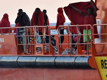 Inmigrantes rescatados en diciembre en Andalucía.