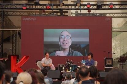 El escritor Ted Chiang, durante su intervención en el festival Kosmopolis, en el Centro de Cultura Contemporánea de Barcelona.