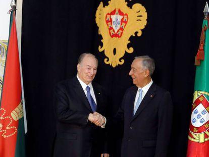 Desde la izquierda, el Aga Khan y el presidente de Portugal, Marcelo Rebelo de Sousa, en el palacio lisboeta de Belém.