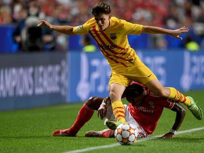 Gavi, en el partido de Champions ante el Benfica