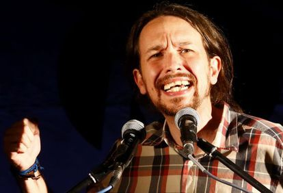 Pablo Iglesias, secretario general de Podemos, durante la noche electoral del 24M.