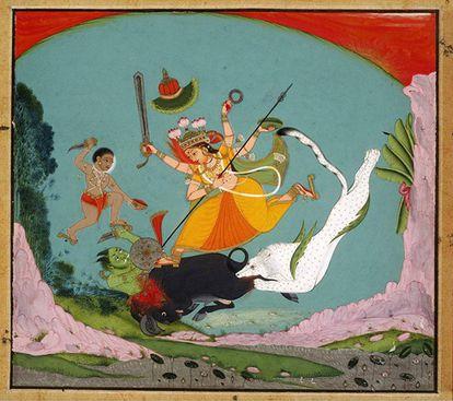 La Gran Diosa Durga matando al demonio Búfalo (Mahishasuramardini).