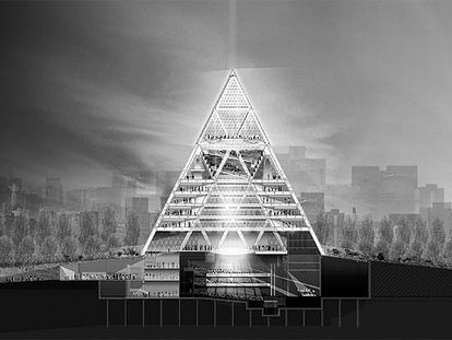 Sección de la pirámide diseñada por Norman Foster para la nueva capital de Kazajistán.