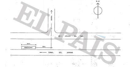 Esquema de localización del enteramiento número 4 elaborado por los técnicos de la JEN en los años setenta.